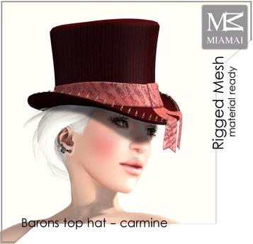 """MIAMAI_Barons top hat """"carmine"""" unisex"""
