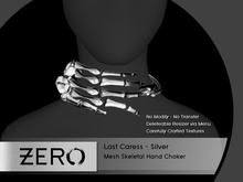 [ zerO ] Last Caress - Mesh Skeletal Choker - Silver (BOX)