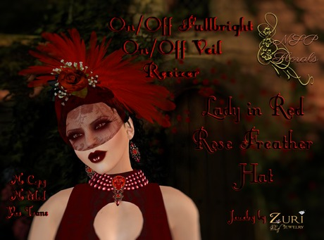 NSP Lady in Red Rose Feather Hat boxed