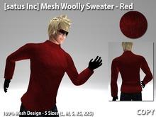 [satus Inc] Mesh Woolly Sweater - Red