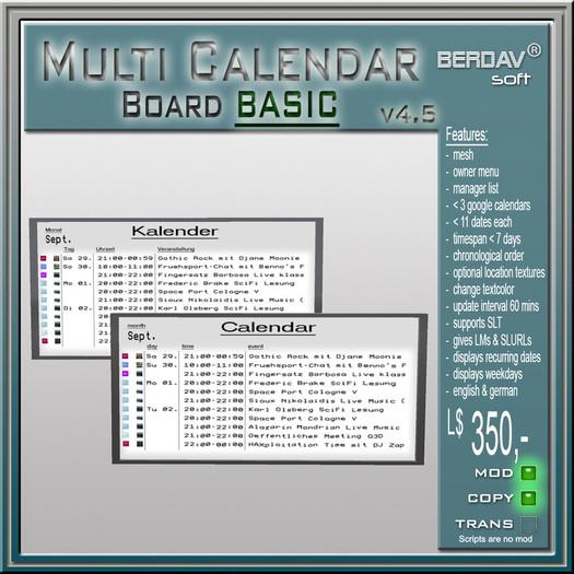 BERDAVsoft Multi Calendar Board Basic 5.01