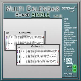 BERDAVsoft Multi Calendar Board Deluxe Single 5.01