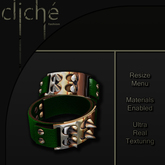 [CF] Spiked Leather Cuffs - Green