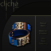 [CF] Spiked Leather Cuffs - Blue