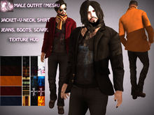 N1CO Male Outfit V1 - Jacket Jeans Boots Scarf HUD(mesh) Bagged