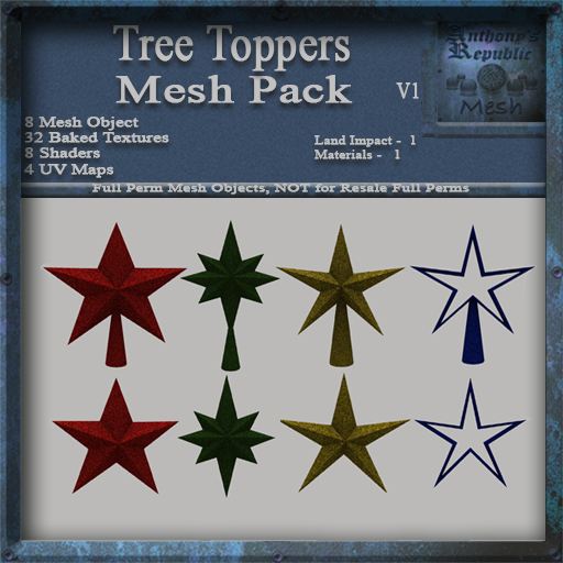 Tree Toppers V1 Mesh Pack, Christmas Holiday Builders Decoration Kit, Mesh & Textures Full Perm