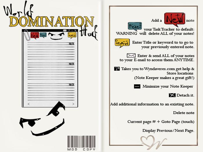 -W- [ Note Keeper HUD ] World Domination  (mod/copy) Get organized