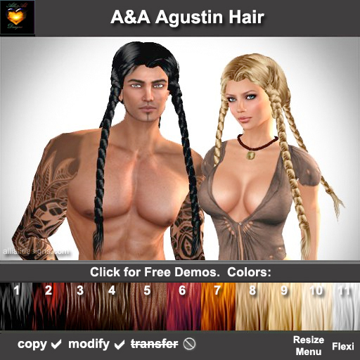 A&A Agustin Hair 11 Colors Variety Pack. Rather slim and tight fit unisex style with 4 braids