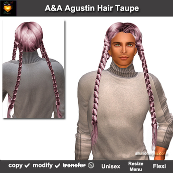 A&A Agustin Hair Taupe (Special Color). Rather slim and tight fit unisex style with 4 braids.