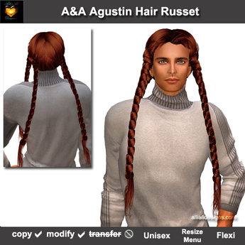 A&A Agustin Hair Russet (Special Color). Rather slim and tight fit unisex style with 4 braids.