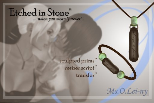 "Ms.O.Lei-ny™ ""Etched in Stone"" (English ""always & forever"") male set"