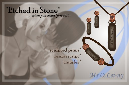 "Ms.O.Lei-ny™ ""Etched in Stone"" (English ""i love you"") female set"