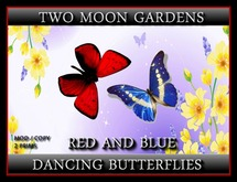 Dancing Butterflies - Red and Blue - 2 prim