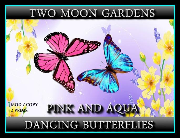 Dancing Butterflies - Pink and Aqua - 2 prim