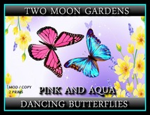 Dancing Butterflies - Pink and Aqua - 2 prim