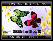 Dancing Butterflies - Pink and Green - 2 prim