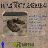 Mens Black Dirty Sneakers