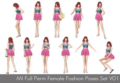 Full Perm MI Full Perm Female Fashion Poses Set V01