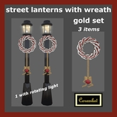 Christmas street lanterns with wreath - gold set