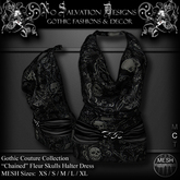 [[NS]] No Salvation Designs *MESH* Chained Fleur Skulls Halter Dress RAVEN ~ Gothic Couture Collection ~