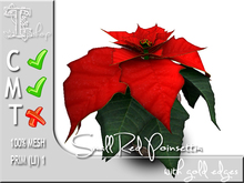 Terrashop - Small Red Poinsettia with gold edges  100% mesh