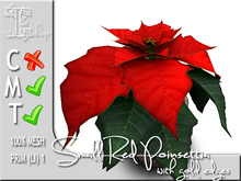 Terrashop - Small Red Poinsettia with gold edges   100% original mesh