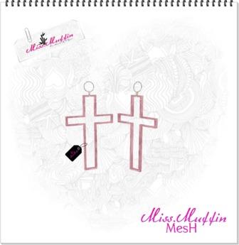 -Miss.Muffin- Funky Cross Earrings *Rosy* Freebie!