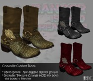 <BIC> Croco Western Boots (feather detail) MESH