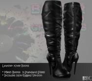 <BIC> Black Leather Knee Boots  w/ zipper (MESH)