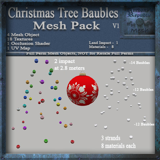Christmas Tree Baubles Mesh Pack, Christmas Holiday Builders Decoration Kit, Mesh & Textures Full Perm