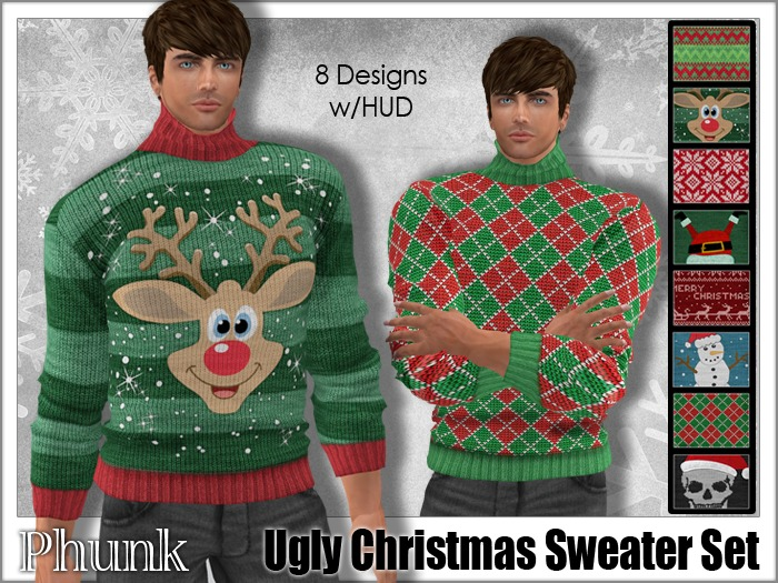 [Phunk] Mesh Men's Ugly Christmas Sweater (8 Designs)
