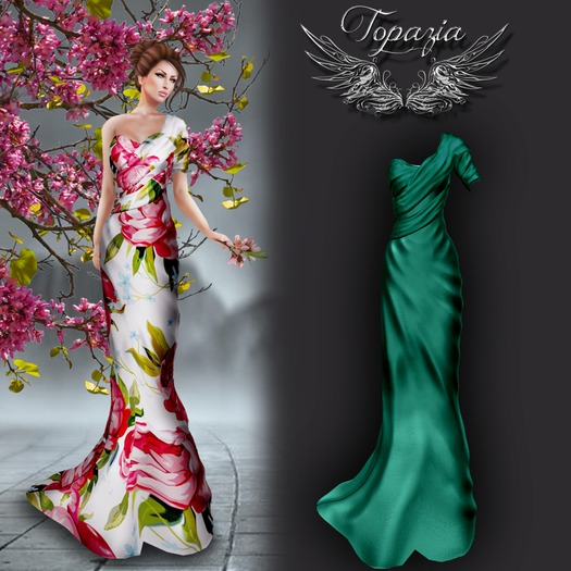 TOPAZIA-Celina gown (mesh) teal