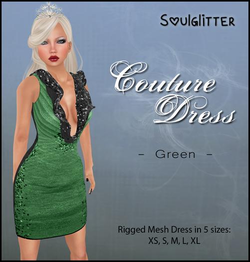 *Soulglitter* Couture Dress Green