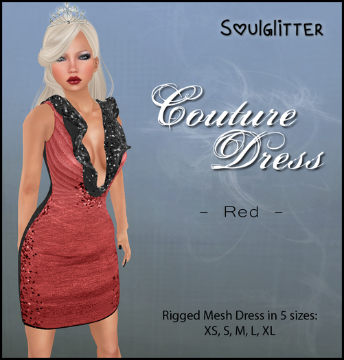 *Soulglitter* Couture Dress Red