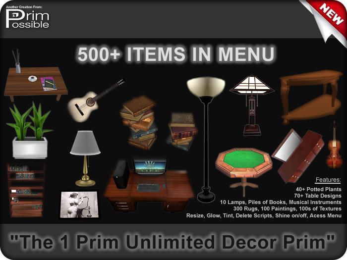 1 Prim Unlimited Decor In Menu COPYABLE