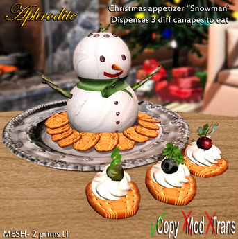 Second Life Marketplace Aphrodite Snowman Cheeses Platter Cream Cheese Crackers