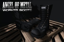 .:Angel of Metal:. Worker Boots Black