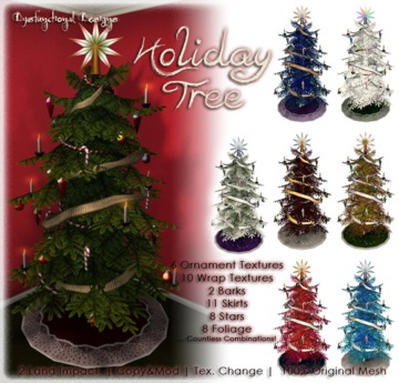 [DDD] Holiday Tree -  2 prims/LI, Mesh, & Texture Change