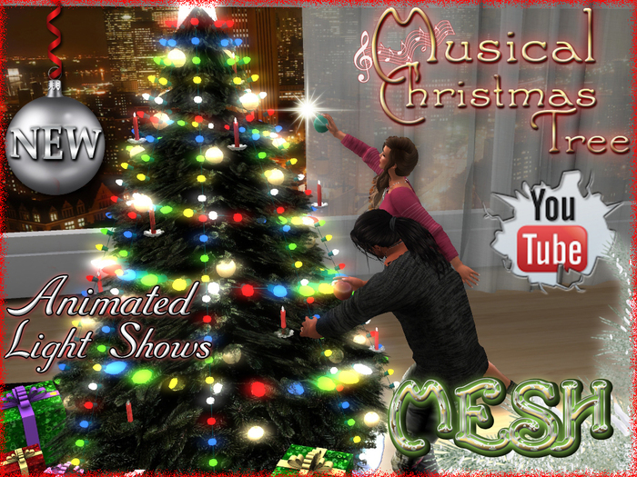 Christmas Tree with Synchronized Lights and Music  - Decorate, Gift Unwrapping and Hot Cocoa drinking animation