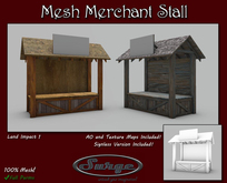 Single Prim Mesh Merchant Stall - Full Permission - 2 Texture Versions - AO Maps Included