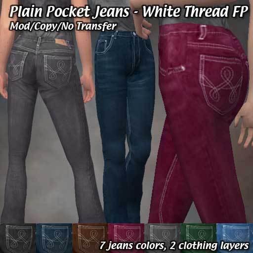 R(S)W - Plain Pocket Jeans: White Thread Fat pack