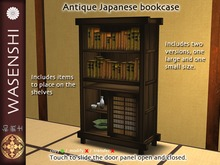Japanese Antique bookcase with books and items.