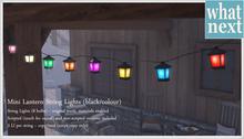 {what next} Mini Lantern String Lights - black/colours (mesh)