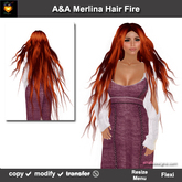 A&A Merlina Hair Fire (Special Color). Very long hair, wavy, fantasy hairstyle. Promo Price!