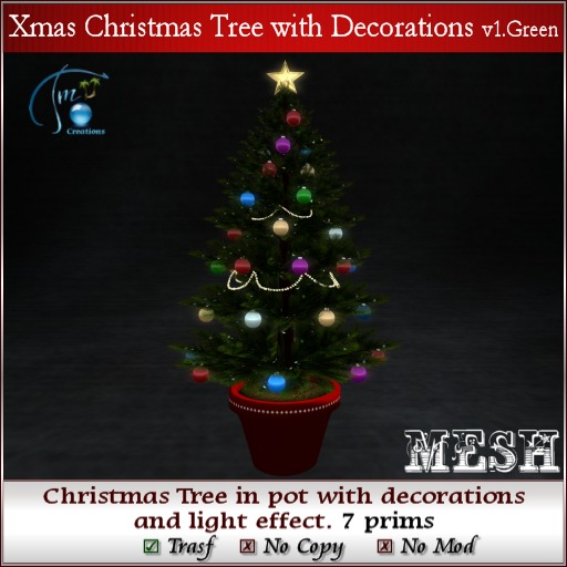 Mesh Xmas Christmas Tree in Pot with Decoration and Light effect.