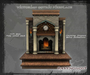 Victorian Gothic Fireplace with Clock & Sconces (9 PRIMS) COPY