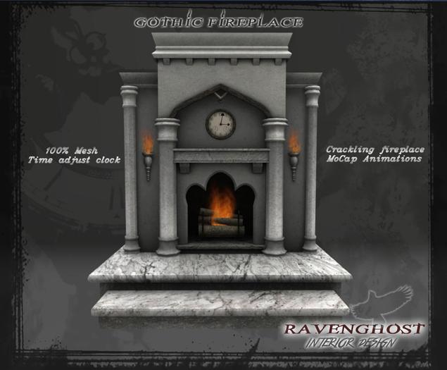 Gothic Marble & Granite Fireplace  (9 PRIMS)