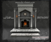 Gothic Marble & Granite Fireplace  (9 PRIMS)