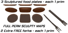 3 Full Perm Sculptured Food Plates and 2 forks + Sculpty Maps
