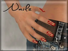 ::BnB:: Nailz ~RED with Gold Snowflakes~ prim nails for Winter/Christmas PROMO